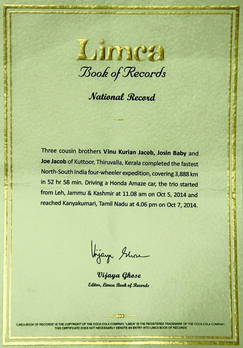 Limca Book of Records Certificate